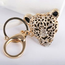 Cute Style Rhinestone Inlaid Leopard Head Pendant Key Chain