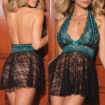 Sexy Backless Deep V-neck See-through Lace Halter Lingerie