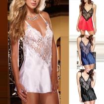 Sexy Backless V-neck Lace Spliced Sling Nightwear Dress Lingerie