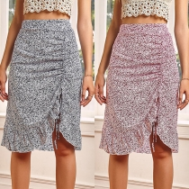 Fashion High Waist Irregular Hem Printed Skirt