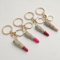Fashion Rhinestone Inlaid Lipstick Pendant Key Chain