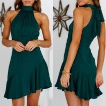 Sexy Off-shoulder Irregular Ruffle Hem Solid Color Lace-up Halter Dress