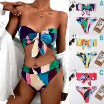 Sexy Colorful Printed Bow-knot Bandeau Bikini Set