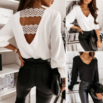 Sexy Lace Spliced Backless V-neck Long Sleeve Solid Color Top Blouse
