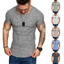 Simple Style Short Sleeve Round Neck Arc Hem Man's T-shirt