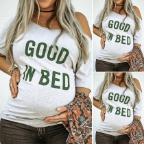 Fashion Letters Printed Short Sleeve Oblique Shoulder Maternity T-shirt