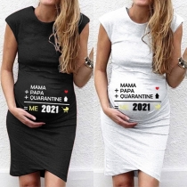 Fashion Sleeveless Round Neck Letters Printed Maternity T-shirt Dress