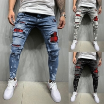 Fashion Middle-waist Plaid Spliced Ripped Man's Jeans