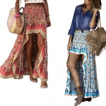 Bohemian Style High Waist Irregular High-low Hem Printed Skirt