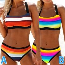 Sexy Low-waist Ranibow Stripe Printed Bikini Set