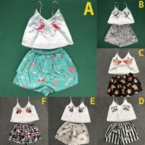 Cute Animal Printed V-neck Sling Top + Shorts Nightwear Two-piece Set