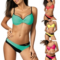 Sexy Low-waist Contrast Color Bikini Set