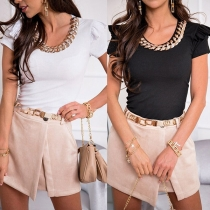 Chic Style Chain Spliced U-neck SHort Sleeve Slim Fit T-shirt