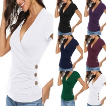 Sexy V-neck Side-button Short Sleeve Solid Color Slim Fit T-shirt