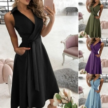 Sexy V-neck Sleeveless High Waist Solid Color Dress