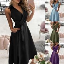Sexy V-neck Sleeveless High Waist Solid Color Dress
