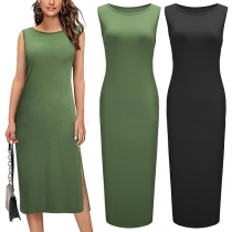 Simple Style Sleeveless Round Neck Side-slit Hem Solid Color Dress