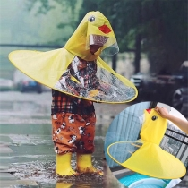 Cute Style Yellow Duck Shaped Children Raincoat