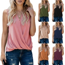 Fashion Solid Color Sleeveless V-neck Loose Top