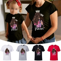 Casual Style Princess Figure Printed Pattern Short Sleeve Round Neck Parent-child T-shirt