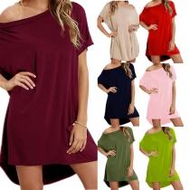 Sexy Oblique Shoulder Short Sleeve High-low Hem Solid Color Loose Dress