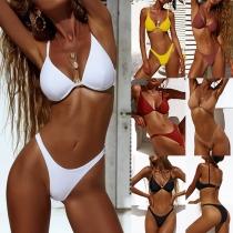 Sexy Low-waist Solid Color Bikini Set
