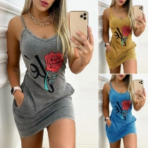Sexy Backless V-neck Rose Printed Slim Fit Sling Dress
