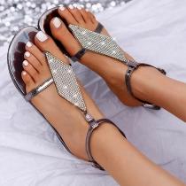 Fashion Flat Heel Rhinestone Spliced Thong Sandals