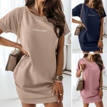 Simple Style Short Sleeve Round Neck Letters Printed T-shirt Dress