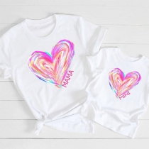 Casual Style Heart Printed Short Sleeve Round Neck Mother and Daughter T-shirt