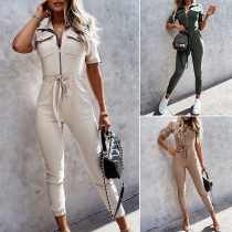 Chic Style Short Sleeve POLO Collar Front-zipper High Waist Slim Fit Jumpsuit