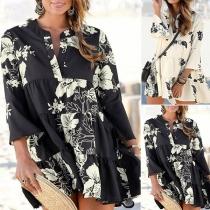 Sweet Style 3/4 Sleeve V-neck Ruffle Hem Loose Printed Dress