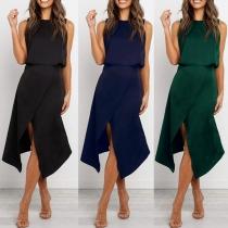 Elegant Solid Color Sleeveless Round Neck Irregular Slit Hem Dress