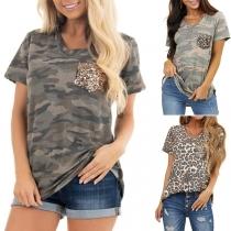 Fashion Sequin Spliced Pocket Short Sleeve V-neck Camouflage Printed T-shirt