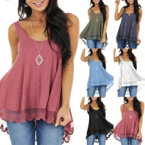 Casual Style Lace Spliced Hem Solid Color Loose Tank Top