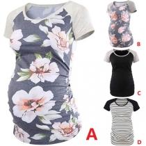 Fashion Printed Spliced Short Sleeve Round Neck Maternity T-shirt