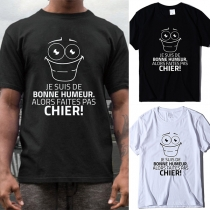 Cute Cartoon Letters Printed Short Sleeve Round Neck Man's T-shirt