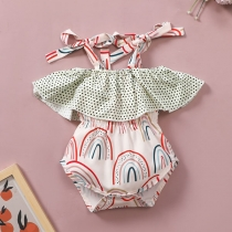 Sweet Style Backless Ruffle Printed Sling Baby Romper