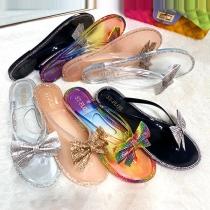 Fashion Flat Heel Rhinestone Inlaid Bow-knot Outdoor Slippers