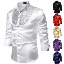 Fashion Sequin Spliced Long Sleeve POLO Collar Man's Costume Shirt