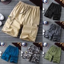 Casual Style Elastic Waist Side-pocket Man's Knee-length Shorts