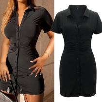 Elegant Solid Color Short Sleeve POLO Collar Slim Fit Shirt Dress