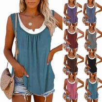 Simple Style Solid Color Sleeveless Round Neck Solid Color Loose Top