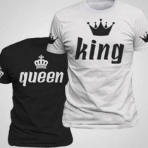 Casual Style Crown Letters Printed Short Sleeve Round Neck Couple T-shirt