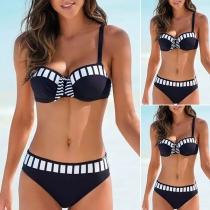 Sexy Contrast Color Low-waist Push-up Bikini Set