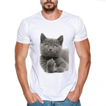 Cute Cat Printed Short Sleeve Round Neck Man's T-shirt