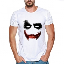 Casual Style Clown Pattern Short Sleeve Round Neck Man's T-shirt