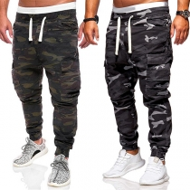 Casual Style Drawstring Waist Side-pocket Camouflage Printed Man's Pants