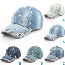 Fashion Rhinestone Inlaid Denim Baseball Cap
