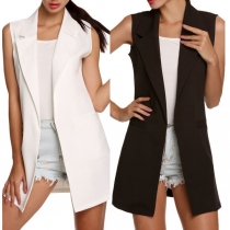 OL Style Sleeveless Notched Lapel Solid Color Vest
